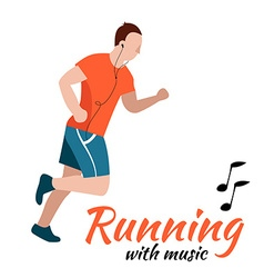 Running man with headphones vector