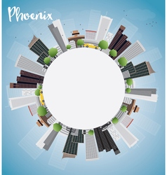 Phoenix skyline with grey buildings vector