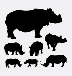 Rhinoceros wild animal silhouettes vector