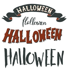 Collection of halloween hand lettering isolated on vector