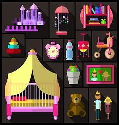 Bedroom for girls A set of furniture and objects vector image