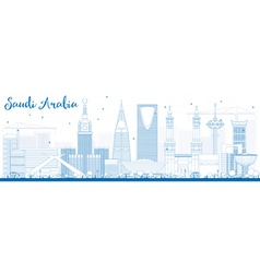 Outline saudi arabia skyline with blue landmarks vector