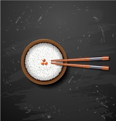 Bowl of white rice with chopsticks on blackboard vector image vector image