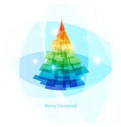 card merry christmas colorful spruce on light vector image