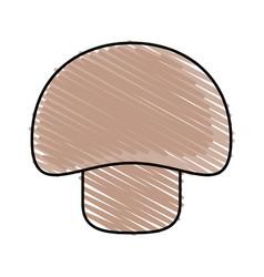 Color crayon stripe mushroom vegetable food vector