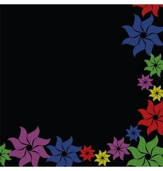 Colorful flower burst on black background vector