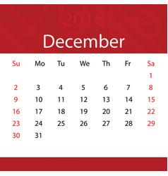 December 2018 calendar popular red premium for vector