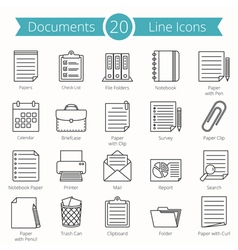 Documents line icons vector