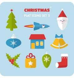Flat Christmas icons set vector image vector image