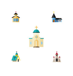 Flat icon christian set of religious catholic vector