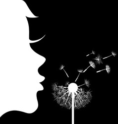 girl and dandelion vector image