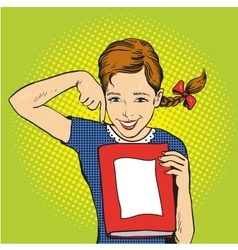 Happy girl hold a book in her hands vector
