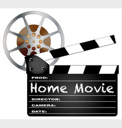 Home movie clapperboard and reel vector