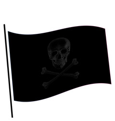 Isolated black color flag with grey image of skull vector