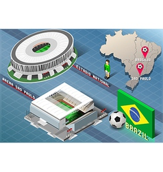Isometric stadium of brasilia and sao paulo brazil vector
