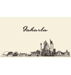 Jakarta skyline vintage drawn sketch vector image vector image