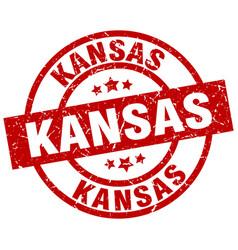 Kansas red round grunge stamp vector