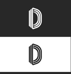 letter d logo mockup isometric monogram creative vector image