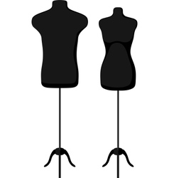 Male and female empty mannequin torso template vector