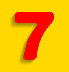 Number 7 sign design template element red vector