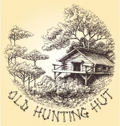 Old hunting hut in the woods round decoration vector image vector image