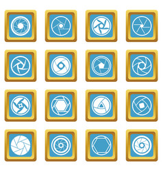 Photo diaphragm icons azure vector