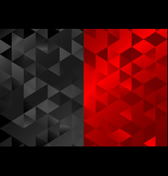Red black low poly triangles mosaic background vector