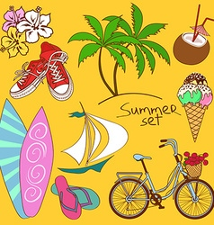 Set of isolated summer icons vector