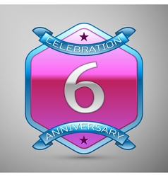 Six years anniversary celebration silver logo with vector