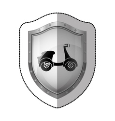 Sticker metallic shield with silhouette scooter vector