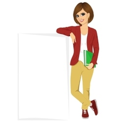 Student girl leaning against a blank board vector