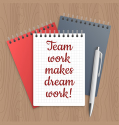 Text team work makes dream vector