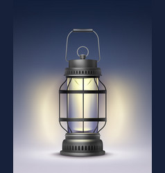 vintage burning lantern vector image vector image