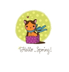 Cute little spotted cat in the box vector image