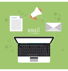 Envelope and laptop icon email design vector