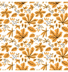 Autumn seamless pattern with many kinds of leaves vector