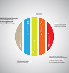Circle template consists of five color parts on vector