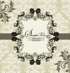 Ornate vintage frame on damask background vector