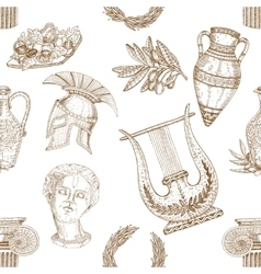 Greece Icons Seamless Pattern vector image