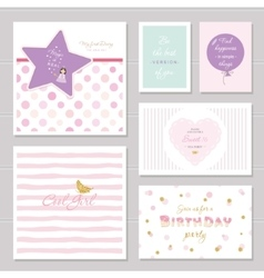 Cute cards design with glitter for teenage girls vector
