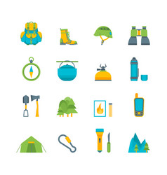 Cartoon traveling camping and hiking set vector