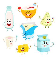 set of funny dairy products with smiling human vector image