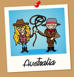 Australia travel polaroid people vector image