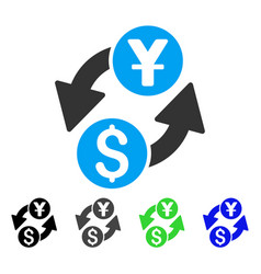 Dollar yuan exchange flat icon vector