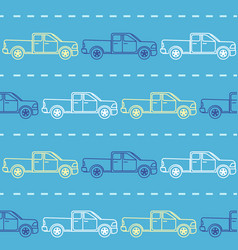 Striped seamless pattern with pickup trucks vector