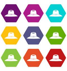 Hat icon set color hexahedron vector