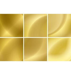 Set of abstract gold neon backgrounds vector