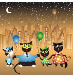 family walk on city cats vector image
