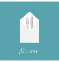 Silver fork knife and napkin menu cover in flat vector