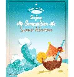 Surfing competition poster vector